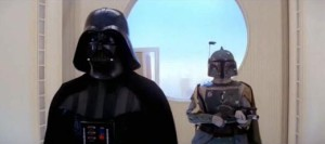 Boba Fett behind Darth Vader on Cloud City - Empire Strikes Back