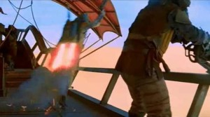 Boba Fett blasting off the barge to go fight in Empire Strikes Back in the desert