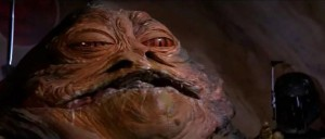 Boba Fett by Jabba the Hutt in Empire Strikes Back in Jabbas Palace