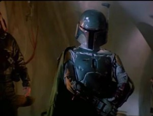 Boba Fett giving the new bounty hunter props in Empire Strikes Back in Jabbas Palace