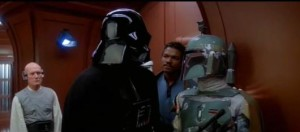 Boba Fett sharing his concerns about Han Solo with Darth Vader on Cloud City - Empire Strikes Back