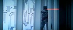 Boba Fett shooting at Luke Skywalker on Cloud City - Empire Strikes Back