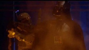 Darth Vader denying Boba Fett a shot at Chewbacca on Cloud City - Empire Strikes Back