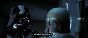Darth Vader sternly warning Boba Fett to not use disintegration - Empire Strikes Back