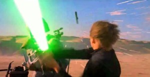 Luke slicing through the pistol of Boba Fett in Empire Strikes Back in the desert