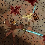 Anakin and Obi-Wan falling into battle in beginning