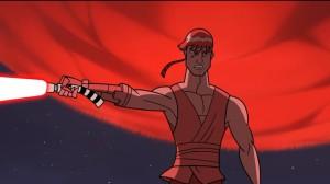 Anakin grabs a lightsaber of Ventress