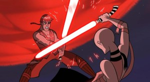 Anakin on the offensive against Ventress with a lightsaber of hers