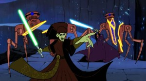 Barriss Offee and Luminara Unduli fighting on Ilum