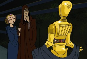 C-3PO showing off his new gold plating