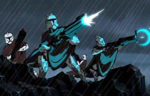 Clone Troopers fighting in the rain in the beginning