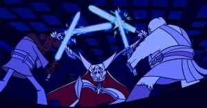 General Grievous battling Roronn Corobb and Foul Moudama