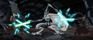 General Grievous fighting Shaak Ti and Ki Adi Mundi simultaneously
