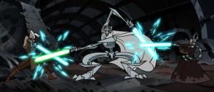 General Grievous fighting Shaak Ti and Ki Adi Mundi simultaneously