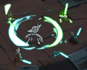 General Grievous fighting five Jedi simultaneously
