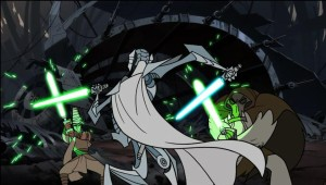 General Grievous fighting two jedi simultaneously