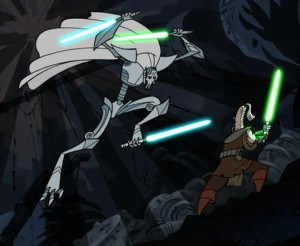 General Grievous on the attack against Ki Adi Mundi with three lightsabers