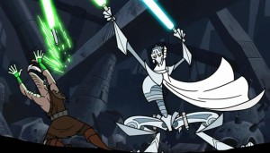 Ki-Adi-Mundi losing his light saber versus General Grievous