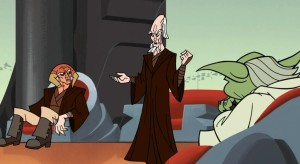Ki-Adi-Mundi sharing his encounter with General Grievous with the Jedi Council