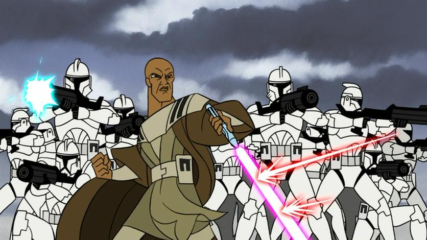 Mace Windu shielding clone troopers on Dantooine