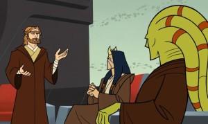 Obi-Wan Kenobi advocating for Anakin to become a Jedi knight