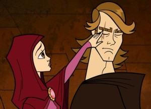 Padmé noticing scar on face of Anakin