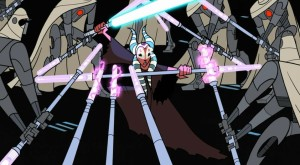Shaak Ti masterfully defending against many MagnaGuards