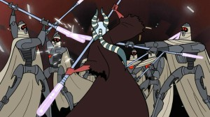 Shaak Ti wielding an electrostaff against MagnaGuards