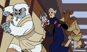 Three Jedi taking Chancellor Palpatine away from his Chancellor Office