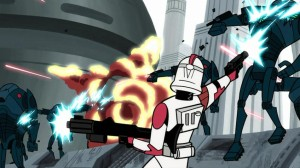 Valient effort by clone trooper in overrun quadrant on Coruscant