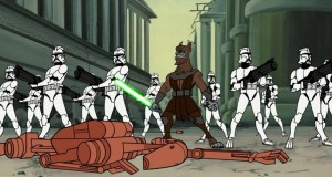 Voolvif Monn alongside clone troopers