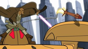 Mace Windu taking control over droid fighter and forcing over a missile