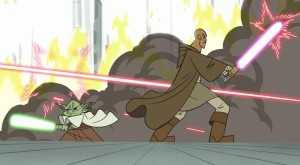 Yoda and Mace Windu fighting alongside each other on Coruscant