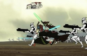 Yoda and Shaak Ti in battle early on