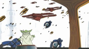 Yoda suprised at the droid invasion of Coruscant