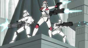 Three clone troopers shooting on Coruscant