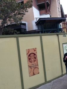 Starbucks being built in Downtown Disney with boards