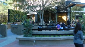 Patio at Starbucks in Downtown Disney in the daytime