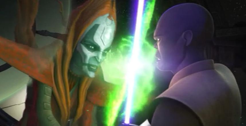 Mace Windu fighting Mother Talzin