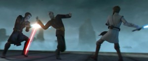 Dooku fighting Anakin and Obi-Wan