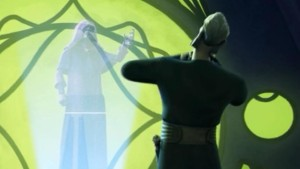 Lord Sidious has force choke on Count Dooku