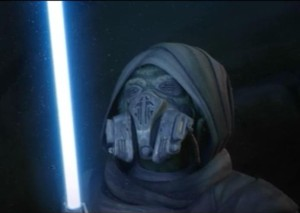 Plo Koon finds the light saber of Syifo-Dyas