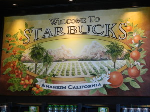 Welcome to Starbucks sign in Downtown Disney store