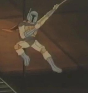 Boba Fett swinging on a rope