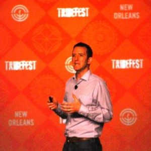 Doug Ulman speaking on the main stage at TribeFest 2014