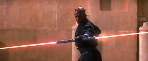 "Darth Maul wielding his double light saber for the first time in ""The Phantom Menace"""