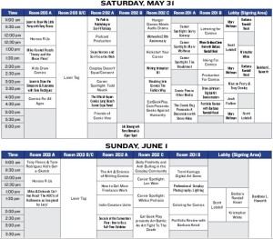 Scheduling Blocks for Long Beach Comic Expo 2014